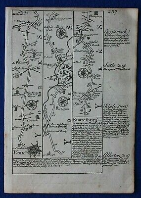 Original antique road map, YORKSHIRE, SKIPTON, LANCASHIRE, HORNBY, Bowen, c.1724
