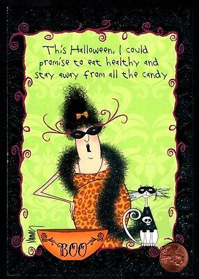 Halloween LESLIE MURRAY Cat Masked Boa HUMOROUS - Halloween Greeting Card NEW - Halloween Animated Greetings