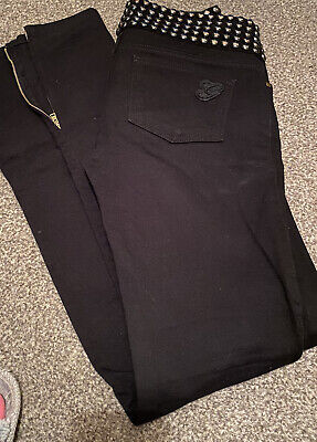 Vintage Gucci Skinny Jeans With Studded Waist & Zip Fastening For Flared/Fitted,