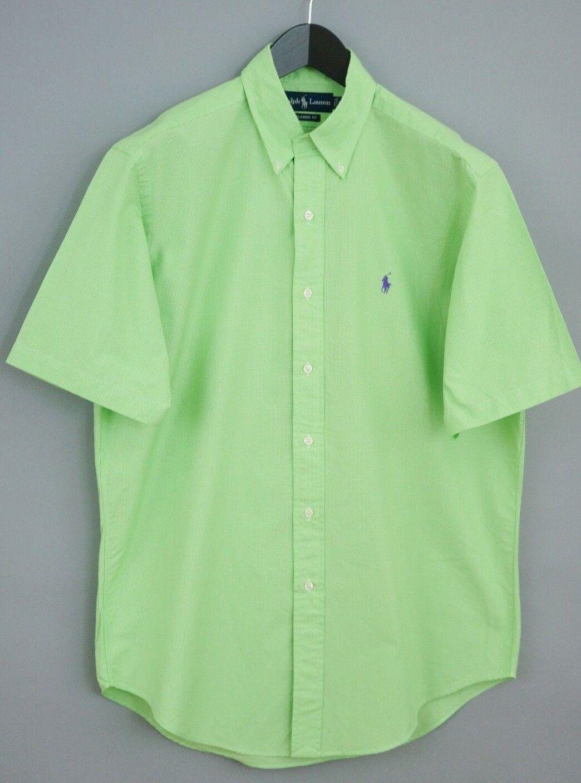 f007d340df4 Hombres Ralph Lauren camisa verde manga corta algodón Casual M VAA185