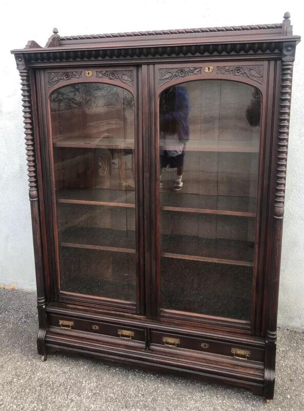 "Unusual Victorian Mahogany Sliding Door Bookcase 79"" X 49 1/2"" X 16"""