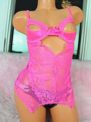 7 'til Midnight Neon Hot Pink Lacy Net Sexy Peekaboo Bust Bustier Nightie Top S - 7 Til Midnight