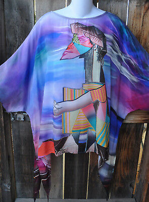 Dilemma Hand Painted Picasso Inspired Crepe De Chine Art To Wear Tunic Os