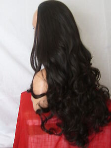 Ladies-3-4-Wig-Fall-Clip-In-Hair-Piece-Long-Curly-Dark-Brown-Half-Fall-X-2