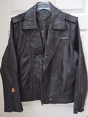 MEN'S SUPERDRY RYAN BIKER BLACK LEATHER MOTO JACKET, XL SLIM FIT (LARGE), NWT