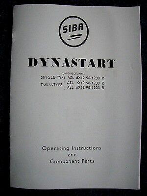 SIBA DYNASTART OPERATING INSTRUCTIONS AND PARTS - DYN01