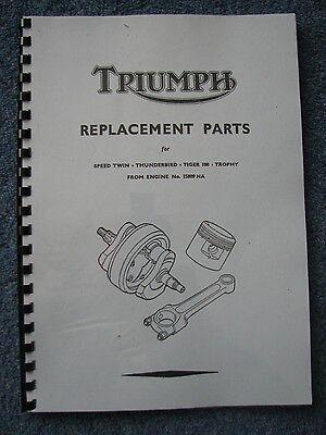Triumph T100 - 5T - 6T - TR5 1952 500 & 650 P/Unit Twins Parts Manual Book TP21D