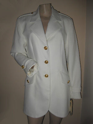 NWT Vintage 80s Cream/Ivory Military-Inspired Gold Button Blazer Jacket S/M P
