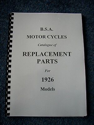 BSA Parts Book for all 1926 models - PWBP04