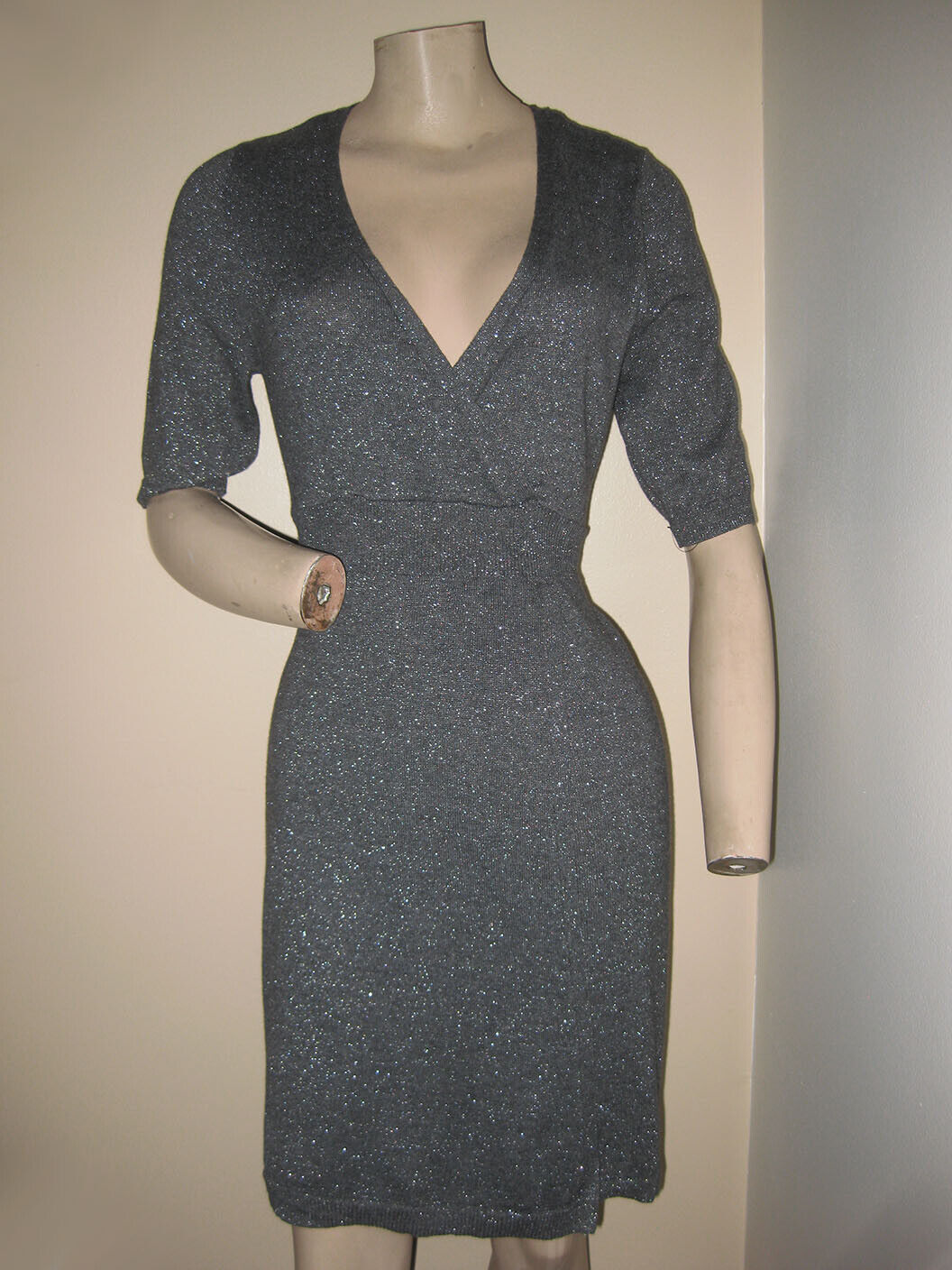 nwt gray metallic silver acrylic blend belted