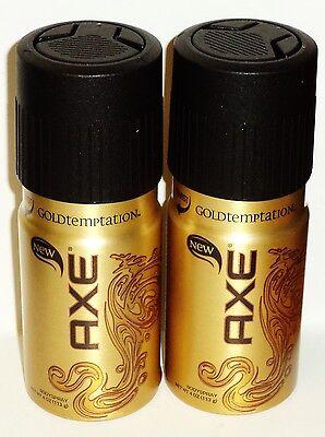 2 Cans Of AXE New Body Spray AXE GOLDTEMPATION Premium Fragrance Spray 4 oz Each