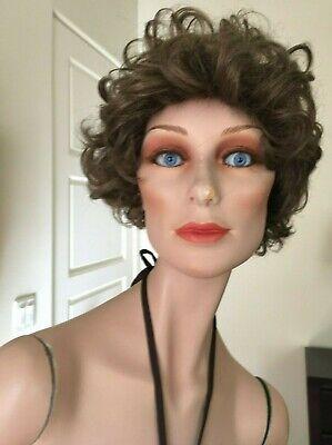 Vintage Wolf Vine Greneker Female Mannequin - Blue Glass Eyes Brown Wig 8 Miss