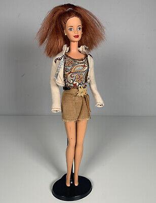 Vintage Brunette Barbie Teresa Doll Red Lipstick Yellow Earrings 1991