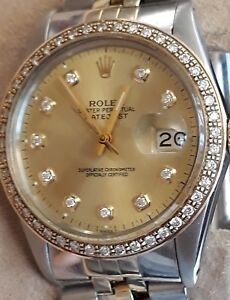 Rolex Datejust DIAMOND Dial and Bezel 16030  36mm with Box Steel Gold strap VGWO