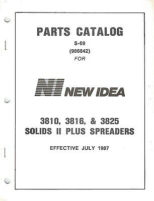 Original New Idea Model 3810 3816 3825 Manure Spreader Parts Catalog Manual