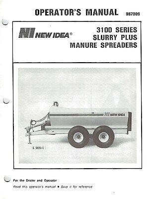 Original New Idea Model 3110 3116 3125 Manure Spreader Operators Manual