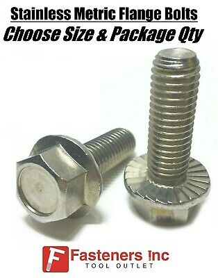 All Sizes Qtys Stainless Steel Metric Hex Cap Flange Bolts Screws Serrated