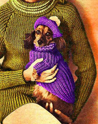 Vintage Knitting Pattern Instructions Pet K9 Dog/Cat Sweater Coat Blanket XLII