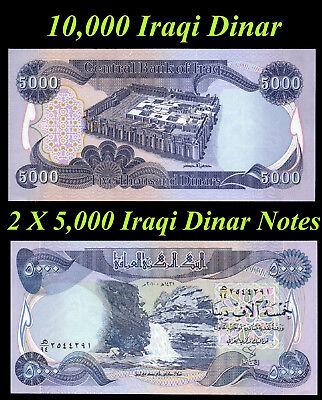 10000 New Iraqi Dinar Crisp Unicrculated 10,000 2 X 5,000 Dinar Notes Lot of 2