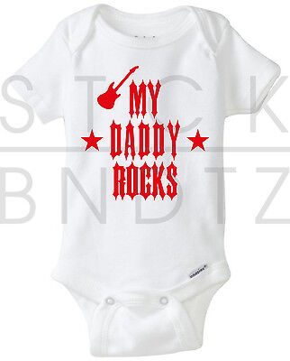 My Daddy Rocks Acdc Led Zeppelin Baby T Shirt Funny Cute Shower Gerber Onesie
