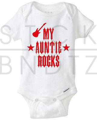 My Auntie Rocks Acdc Pink Floyd Baby T Shirt Funny Cute Shower Gerber Onesie