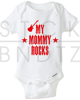 My Mommy Rocks Acdc Rolling Stones Baby T Shirt Funny Cute Shower Gerber Onesie