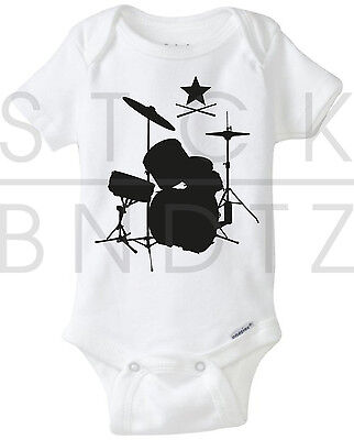 Drumset Rock Band Prestige Daddy Baby T Shirt Funny Cute Shower Gerber Onesie