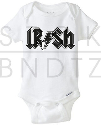 Irish Pride Acdc Eire Rock Baby T Shirt Funny Cute Shower Gift Gerber Onesie