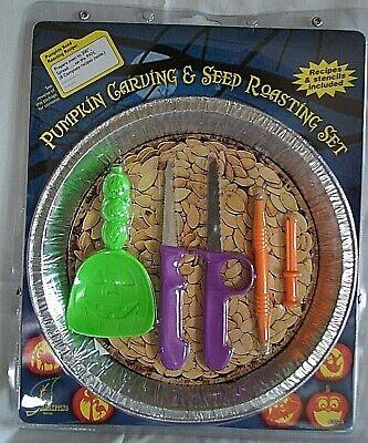 Roasted Halloween Pumpkin (HALLOWEEN 19 pc. PUMPKIN CARVING & SEED ROASTING KIT 5 Stencils, Tools, pan,)