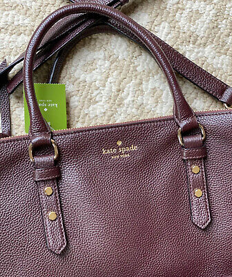 NEW Kate Spade Mulberry Street Leighann Leather Satchel Bag Mahogany WKRU3927
