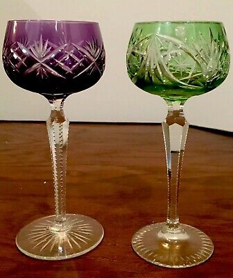 Pair Of Bohemian VINTAGE CUT To CLEAR CRYSTAL 8