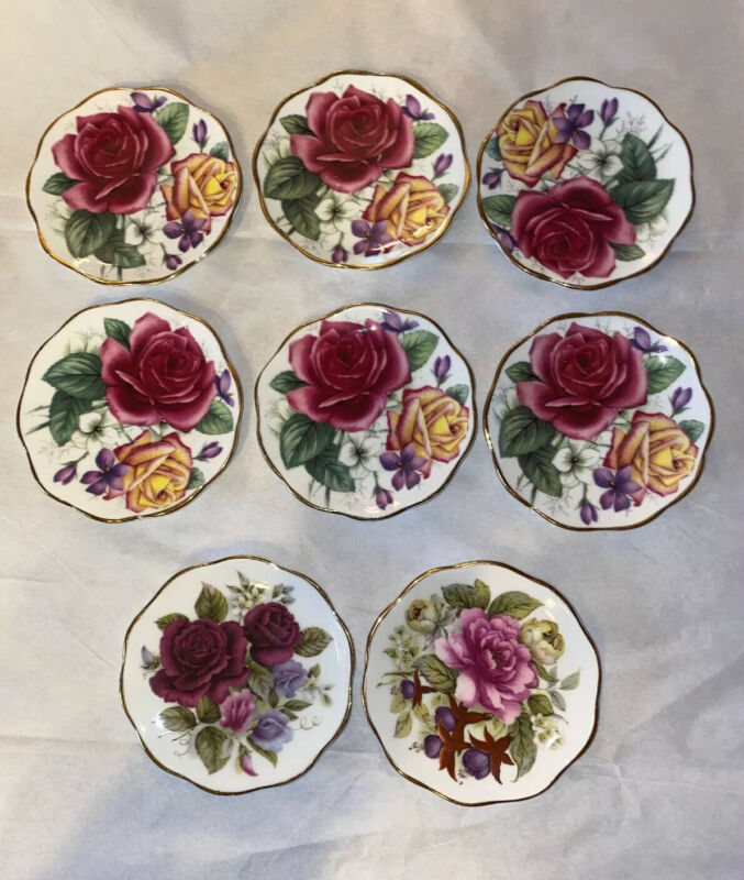 8 FENTON BONE CHINA Butterpat Butter Pat STAFFORDSHIRE ENGLAND PINK Roses🌹