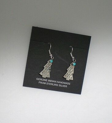 Christmas Tree Earrings, Sterling Silver, Indian Made