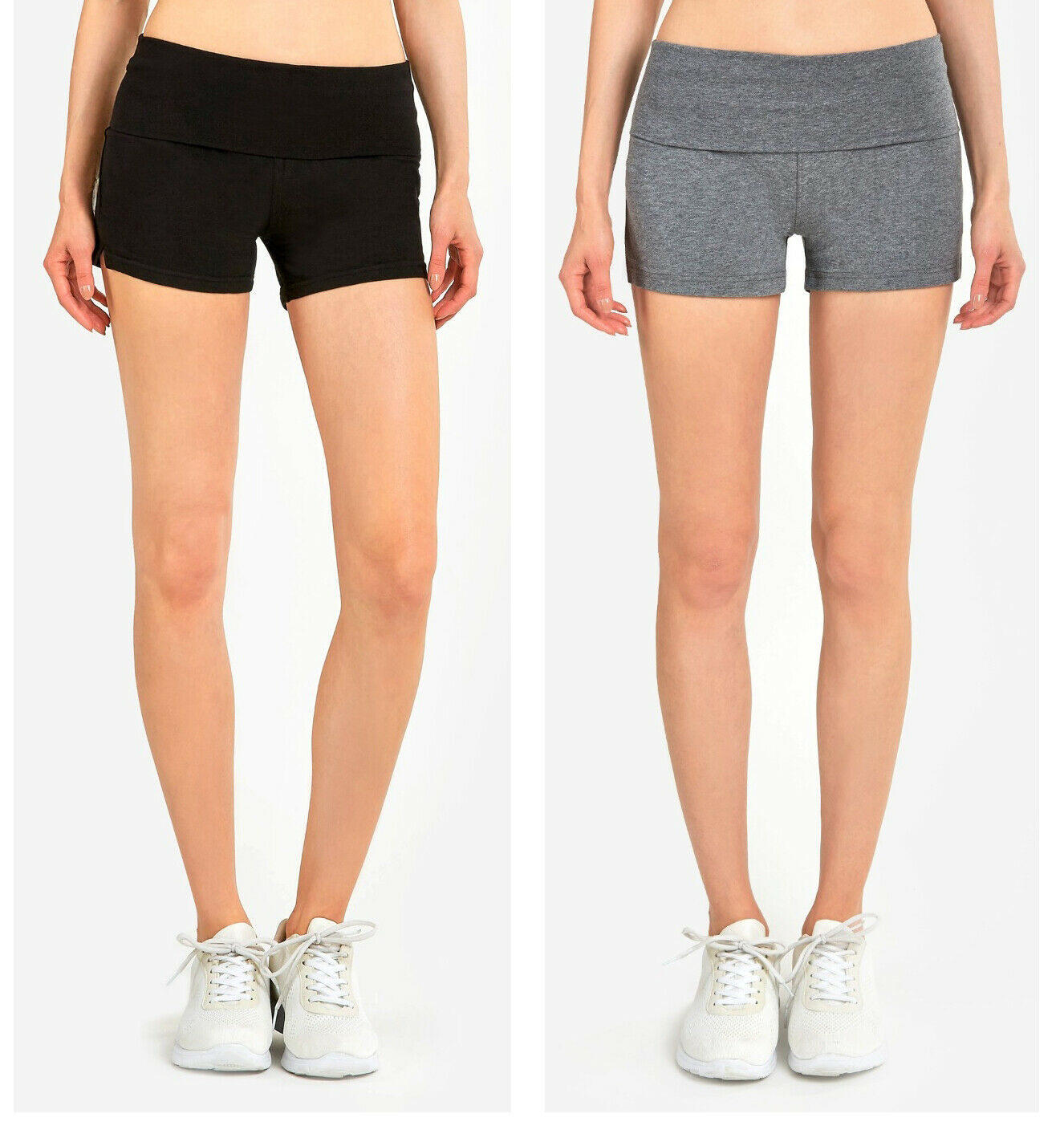 Ladies 5″ High Waist Cotton Spandex Yoga Workout Bike Shorts Hot Pants Activewear