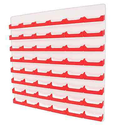 48 Pocket Wall Mount Red Card Holder W White Acrylic Back Business Card