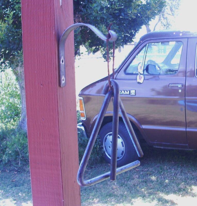 triangle dinner bell hanger  western chuck wagon farm cowboy ranch loud rustic
