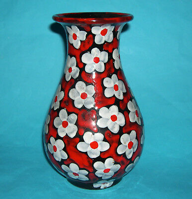 Studio Pottery - Attractive Hand Painted Classic Shape Flower Design Vase.