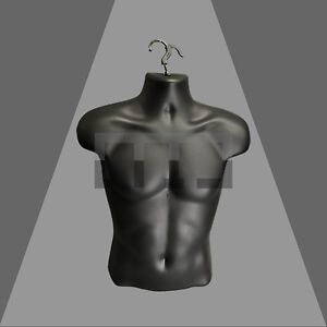 HIGH QUALITY HALF HANGING MALE MANNEQUIN TORSO BODY FORM DISPLAY BUST- 5 COLOURS