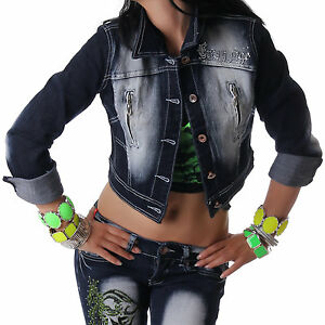 crazy age damen jeansjacke jacke kurz jeans bauchfrei langarm blau neu s m l xl ebay. Black Bedroom Furniture Sets. Home Design Ideas