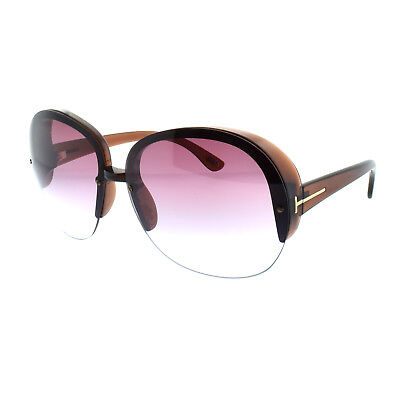 436054939a012 Tom Ford FT0458 48Z Clear Dark Brown Women s Semi Rimless Oval Sunglasses
