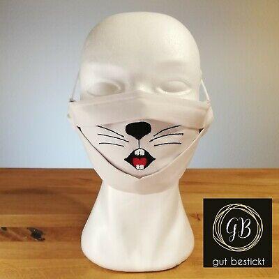 Mundschutz mit Nasenbügel, Maske, Hase, Hasenschnauze, waschbar, Hasenzähne