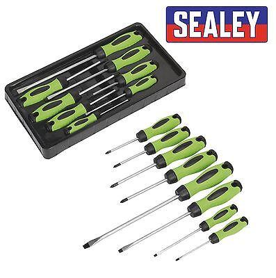 Sealey HV001 Screwdriver Set Hi Vis Hi-Visibility Green 8 Piece