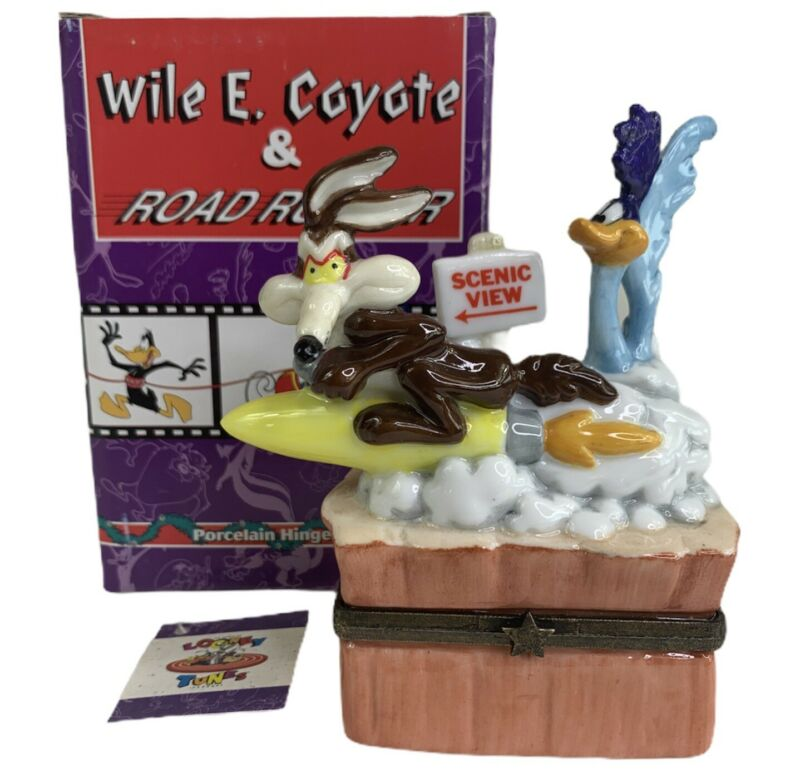 LOONEY TUNES WILE E COYOTE & ROAD RUNNER Midwest Of Cannon Falls Trinket Box NEW