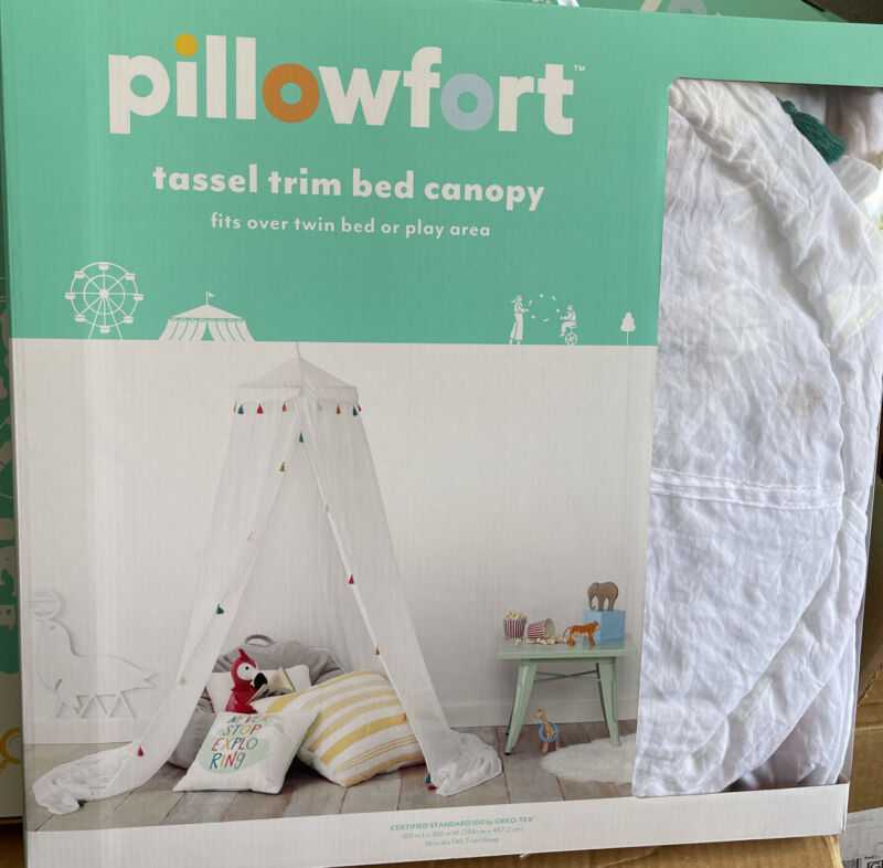 "Pillowfort Tassel Trim Bed Canopy White 180"" x 100"" New Ceiling Mount NEW"