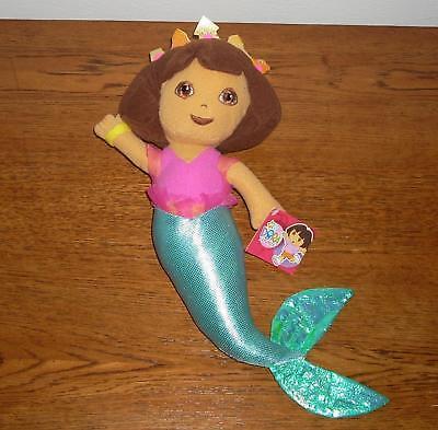 Nickelodeon Nick Jr Dora The Explorer Mermaid Princess Stuffed Plush Doll Nwt