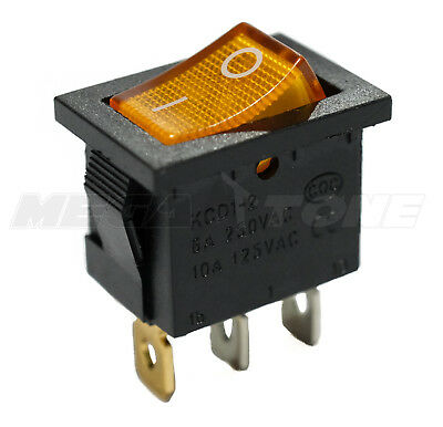 Spst Kcd1 Mini Rocker Switch Illuminated Amber Lamp On-off 6a250vac Usa Seller