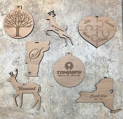 Custom Engraved Wooden Ornaments Personalized Christmas Holiday Gift