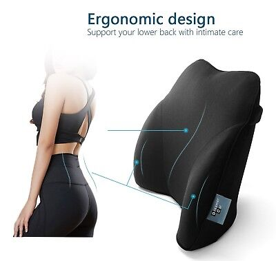 Lower Back Lumbar Support Cushion Memory Foam Car Pillow Pain Tailbone Chair NEW Auto Back Support