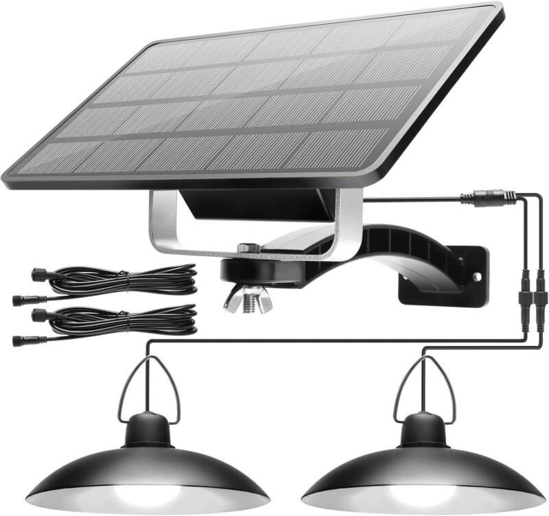 Double Head LED Solar Pendant Light Outdoor Indoor Lamp Hanging Shed Cool White