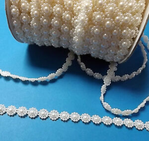 Cream / Ivory Flowers Beaded Bridal Lace Trim #1CM1R